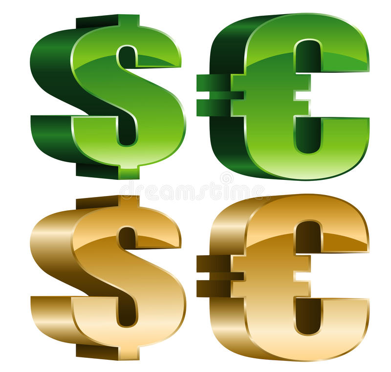 Download Sign of dollar and euro stock vector. Illustration of isolated - 27588730