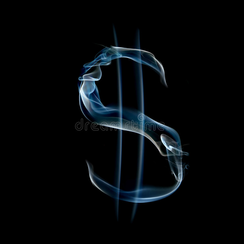Sign of dollar from a smoky alphabet. Isolated on black background stock photos