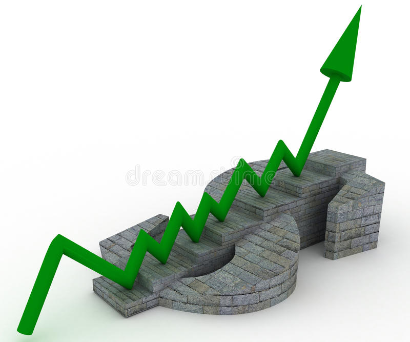 Download Sign Dollar With Step And Arrow Stock Illustration - Image: 19070953