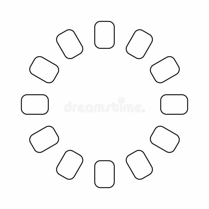 Sign download online icon, outline style. Sign download online icon in outline style isolated on white background. Loading symbol vector illustration