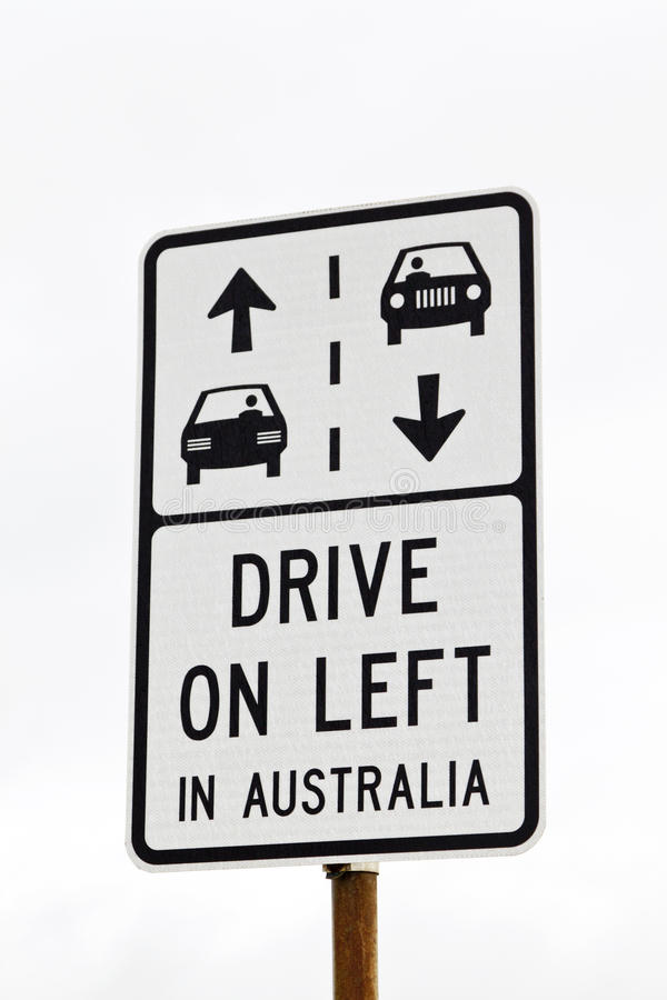 Download Sign -- Drive On Left In Australia Stock Photo - Image: 22966134