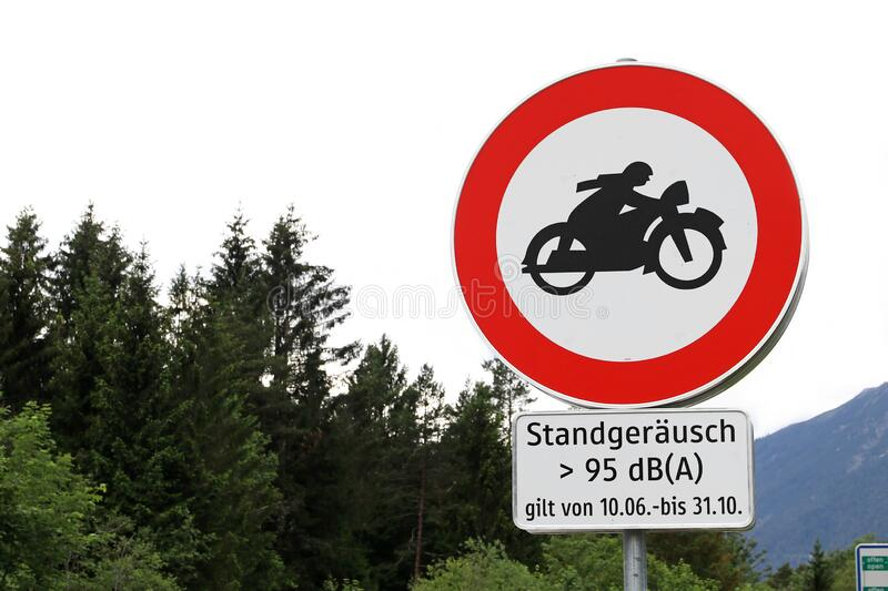 Sign with driving ban for too loud motorcycles in Tirol in Austria royalty free stock photos