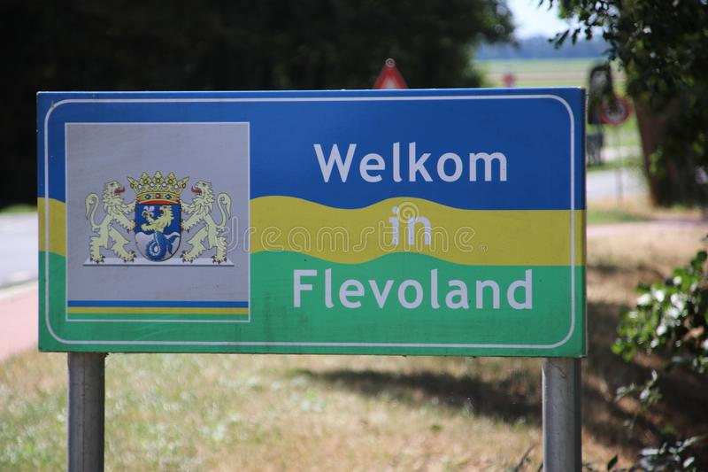 Sign in dutch language to say welcome to the state Flevoland at the City of Lemmer. Sign in dutch language to say welcome to the state Flevoland at the City of stock images