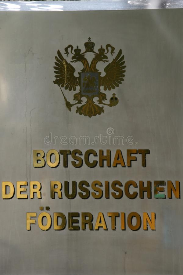 Sign on the embassy of the russian federation in berlin, germany. Close up of the information sign, embassy of the russian federation in berlin, germany stock photography
