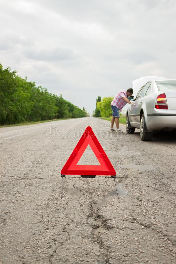 Sign of emergency stop car on the road. stock photos