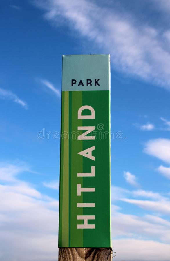 Sign at the entrance of Park Hitland, local recreation forest and park in Nieuwerkerk aan den IJssel in the Netherlands. stock photo