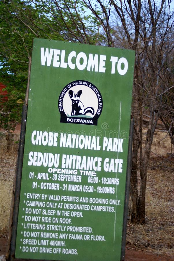 Sign at the entrance to Chobe National Park stock photos