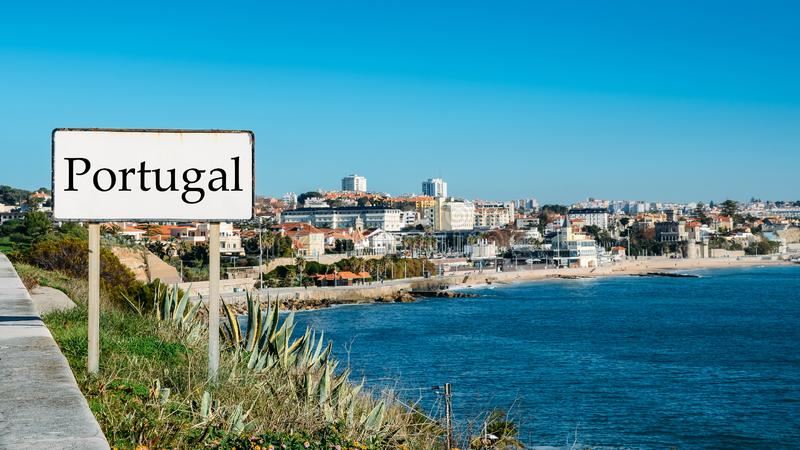 Sign entrance to the resort coastal city of Monte Estoril, near Lisbon, Portugal.  royalty free stock images