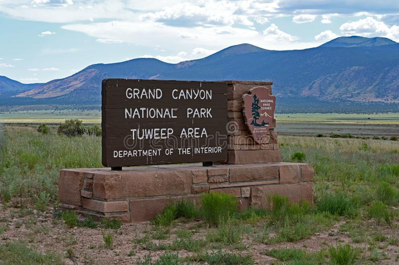 National Park sign at the entrance to Tuweep in the Grand Canyon. Sign at the entrance to the Tuweep Area of Grand Canyon National Park, Arizona royalty free stock photo