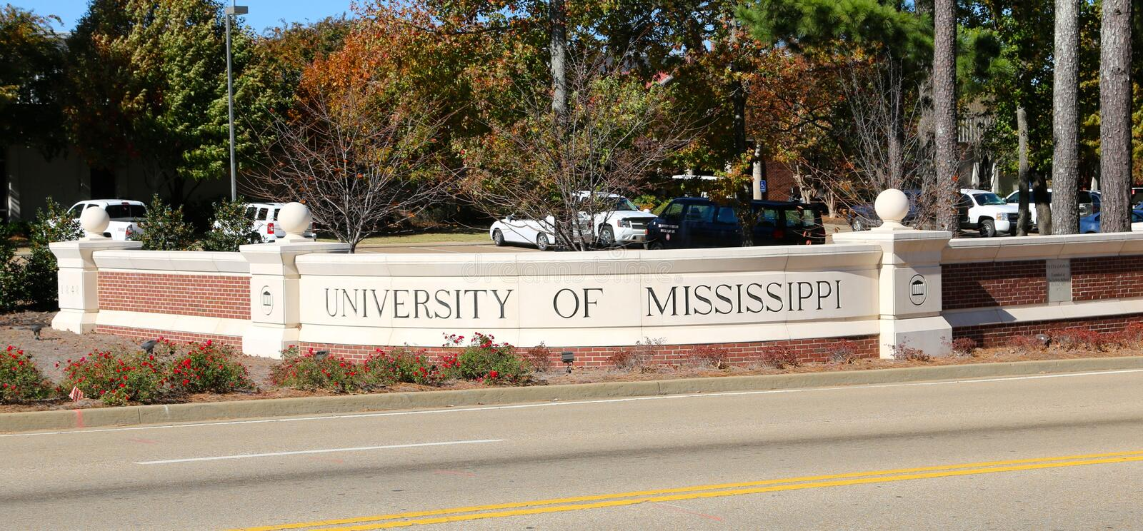 Sign at the entrance of the University of Mississippi royalty free stock photography