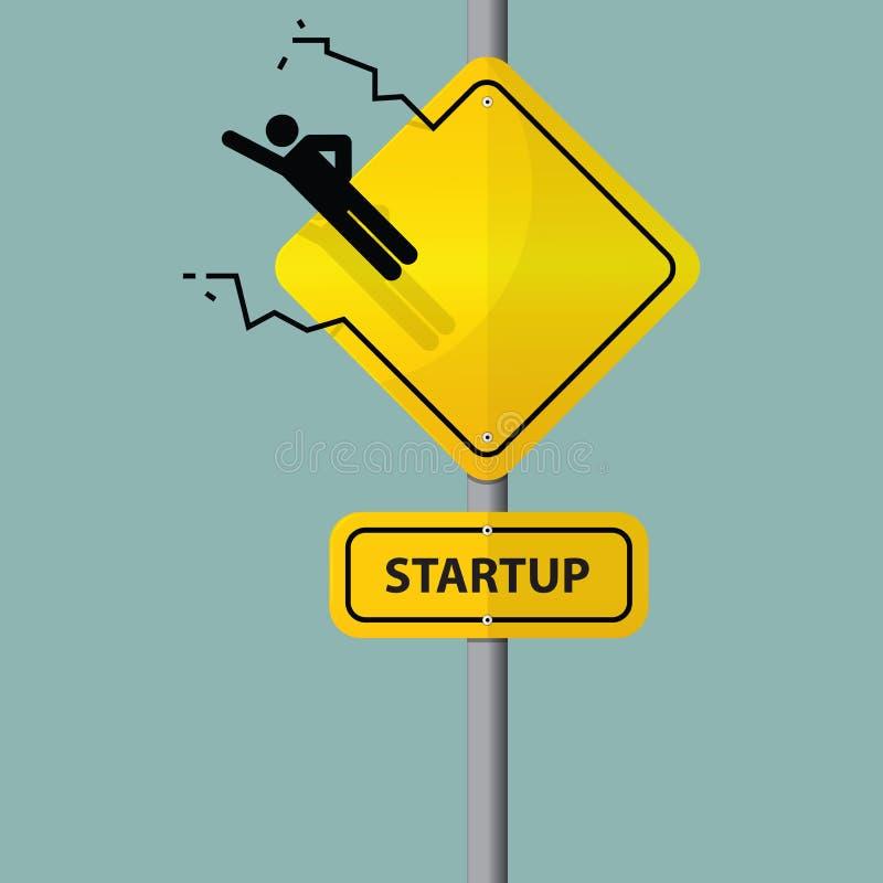 Sign of entrepreneur launching. Startup wording on road sign. Vector. Illustration vector illustration