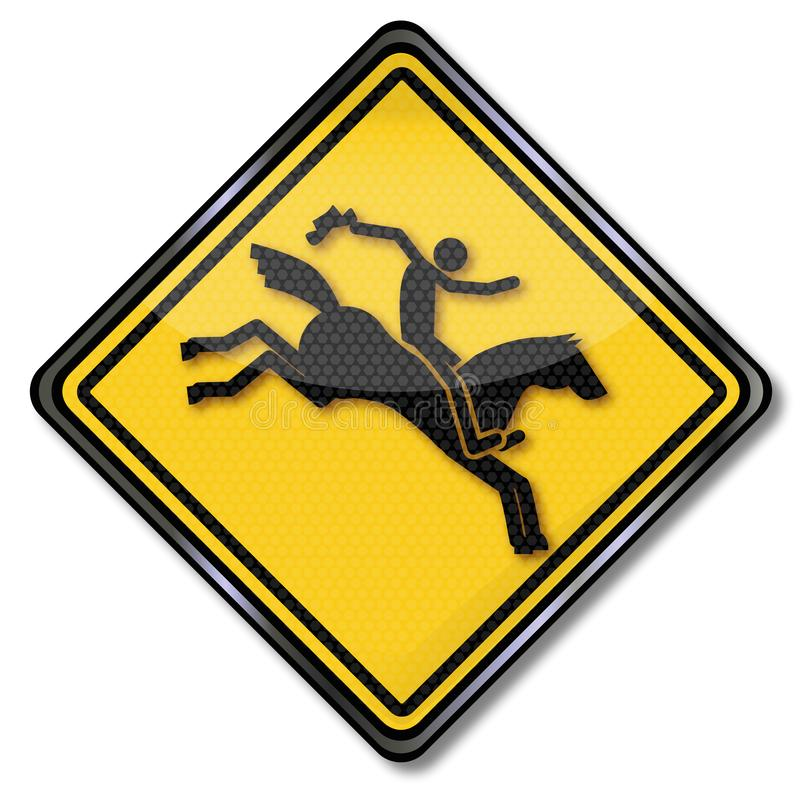 Sign with equestrian and rodeo stock illustration