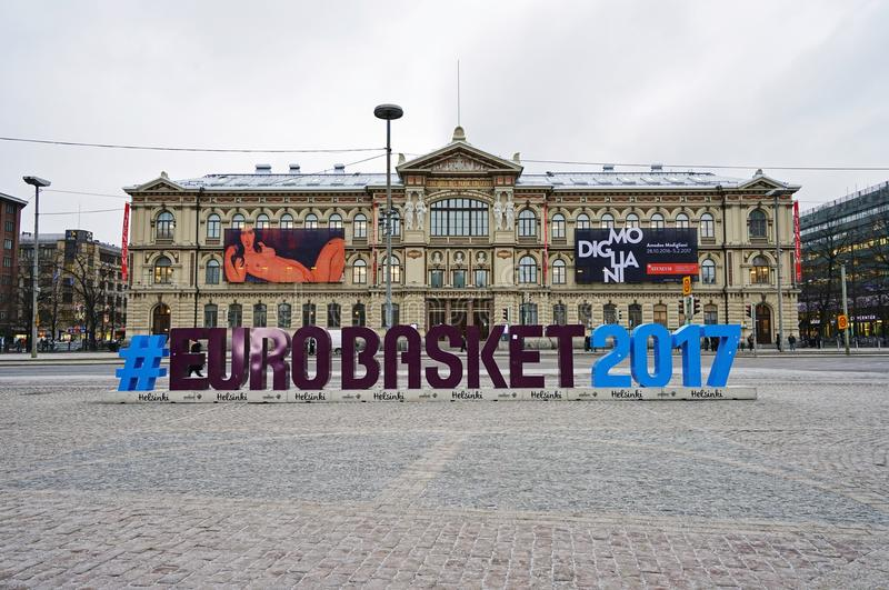 Sign for the EUROBASKET 2017 in Helsinki. HELSINKI, FINLAND - Sign for the EUROBASKET 2017 in Helsinki. The Finnish capital hosts the 40th edition of the royalty free stock photos