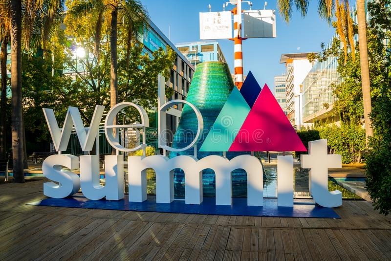 A sign for Europe`s biggest tech conference,. The Web Summit, at Commerce Square stock photo