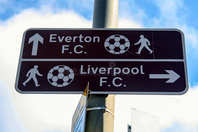 Direction sign to Everton and Liverpool Football Club stock photos