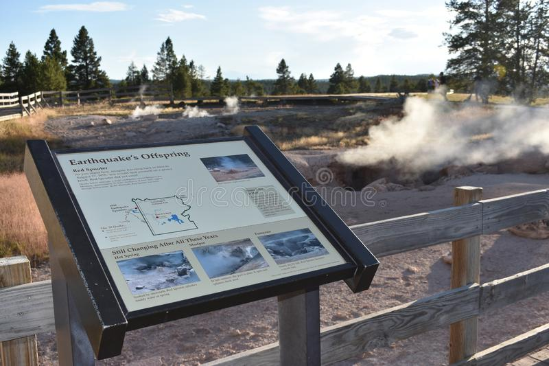 Earthquake`s Offspring Sign, Yellowstone National Park. The sign explains little about and earthquake that happened near by and also talks about  is on the Red stock image