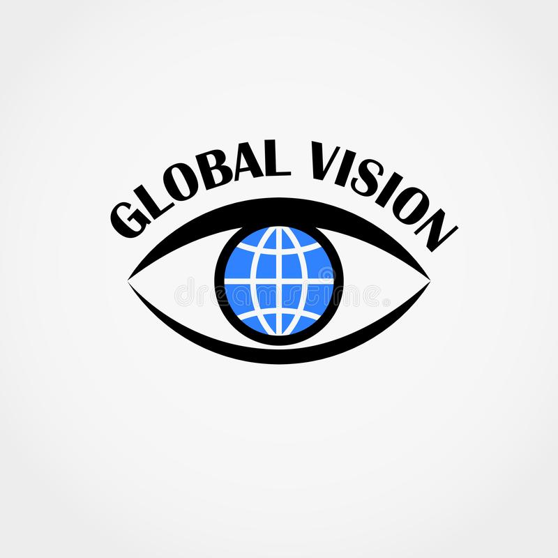 Sign of eye with globe inside. Global vision concept. Vector illustration. stock illustration