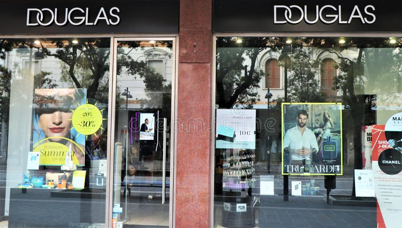 Sign of the famous perfumery brand ` Douglas ` stock photo