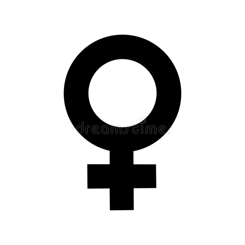 Sign female gender black icon. A symbol sexual affiliation. Flat style for graphic design, logo. A happy love. Vector illustration.  stock illustration