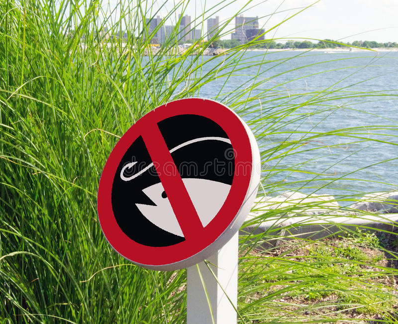 The sign of fishing is prohibited stock images