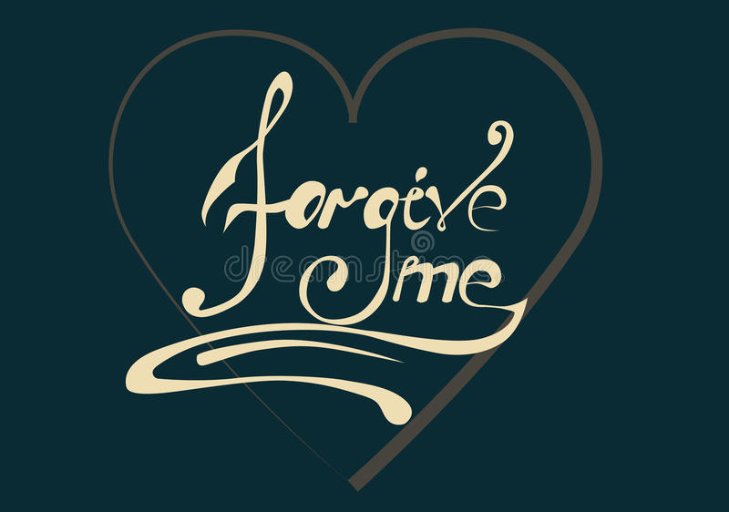 Sign forgive me. On a dark blue background in the heart stock illustration
