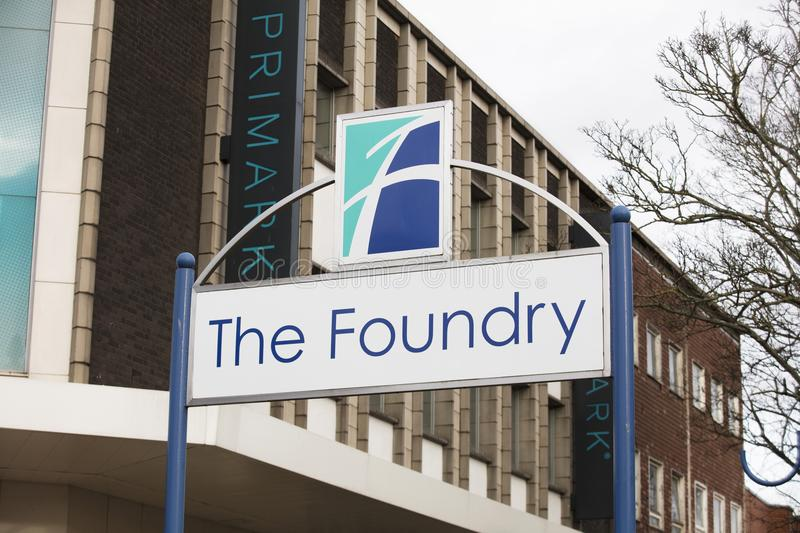 Sign for the The Foundry Shopping Centre - Scunthorpe, Lincolnshire, United Kingdom - 23rd January 2018 royalty free stock photo