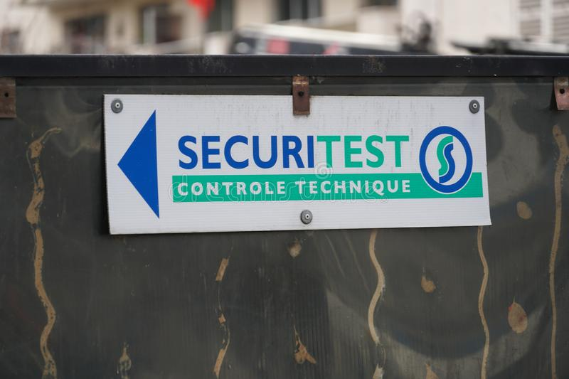 Sign of the French company Securitest. Paris, France - March 18, 2019: Sécuritest signage, French company providing vehicle pollution and emissions control stock photo