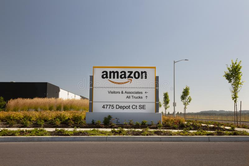 Sign in Front of Newly Completed Amazon Logistics/Product Distribution Center royalty free stock image