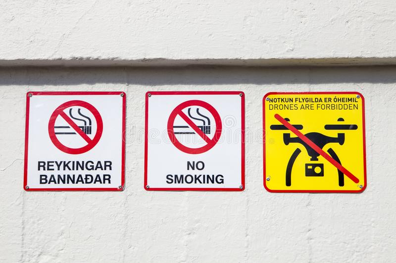 A no smoking or drone sign royalty free stock image