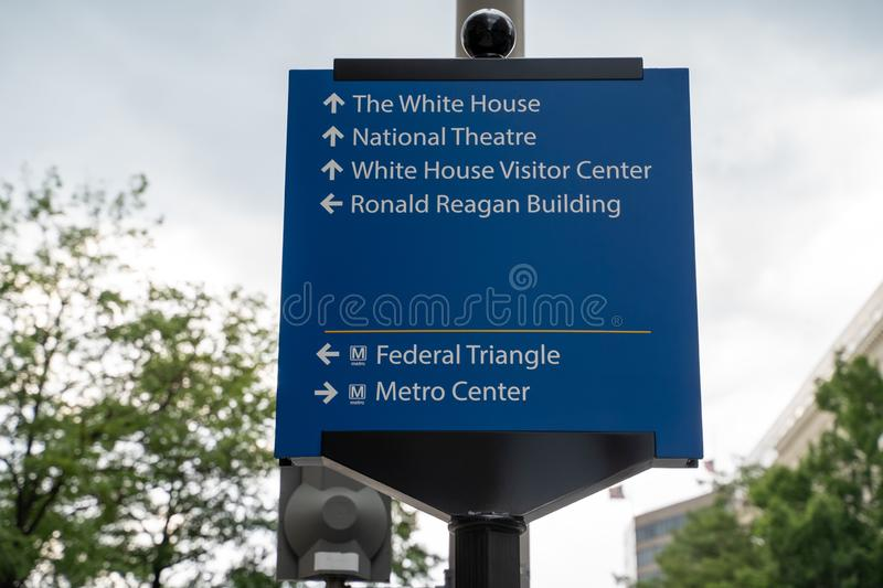 Washington, DC - August 7, 2019: Sign gives directions to famous DC landmarks for tourists White House, National Theater, DC. Sign gives directions to famous DC stock photo