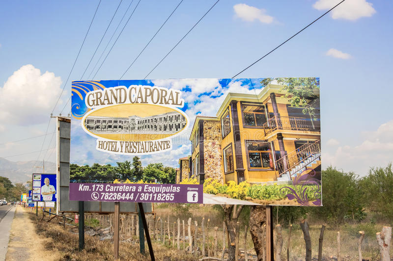 Sign for Grand Caporal hotel in Guatemala. Chiquimula, Guatemala - December 2, 2016: Sign by the road for Grand Caporal hotel in Guatemala stock photography