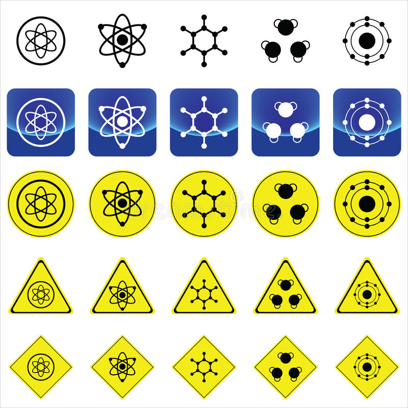 Sign graphics for atom and molecule structure. On many types of yellow circle, triangles and square sign vector illustration