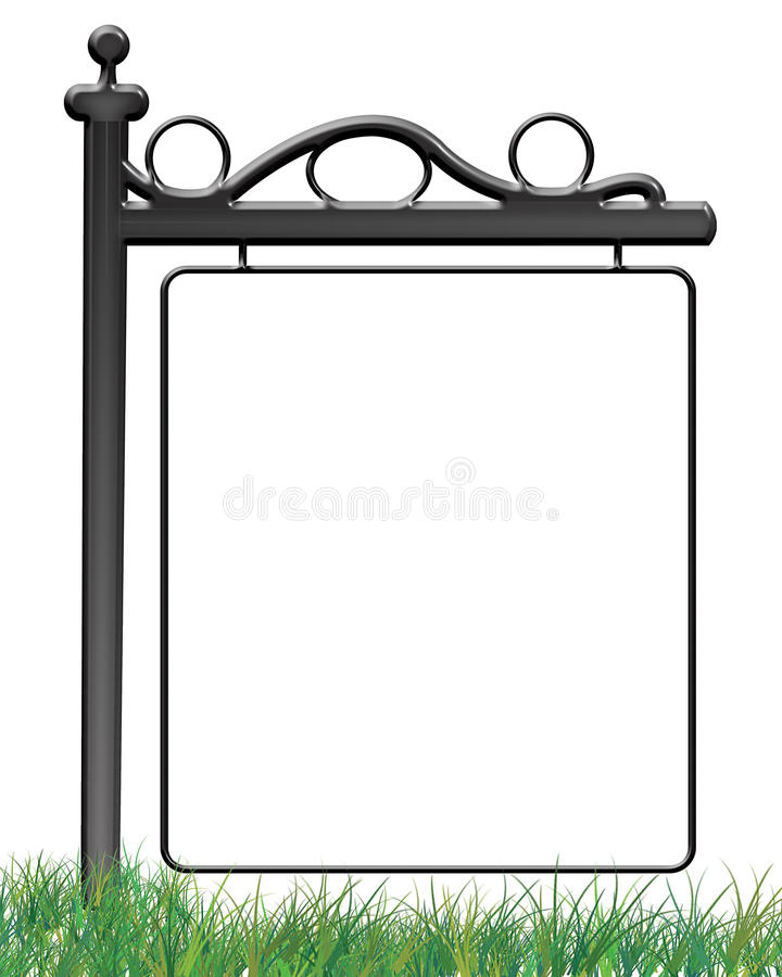 Sign On The Grass Photo Frame. An illustration of a transparent photo frame of an outdoor sign on the grass, created in Photoshop vector illustration