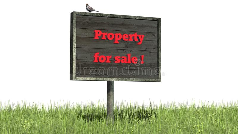 Sign in grass `Property for sale` stock photography