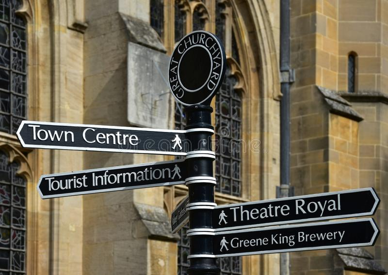Sign for tourist attractions in Bury St Edmunds, Suffolk, England royalty free stock photos