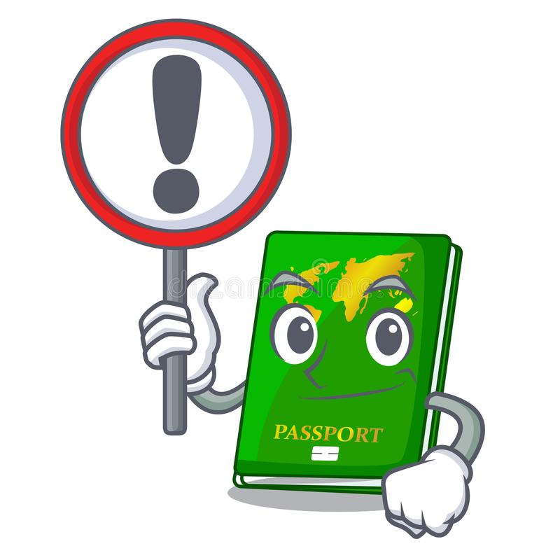 With sign green passport in a character bag. Vector illustration vector illustration