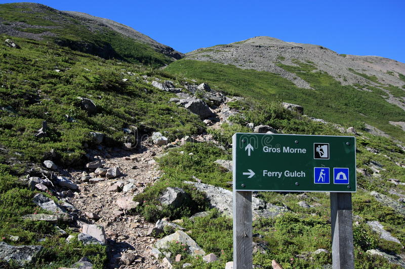 Sign at Gros Morne Mountain royalty free stock image