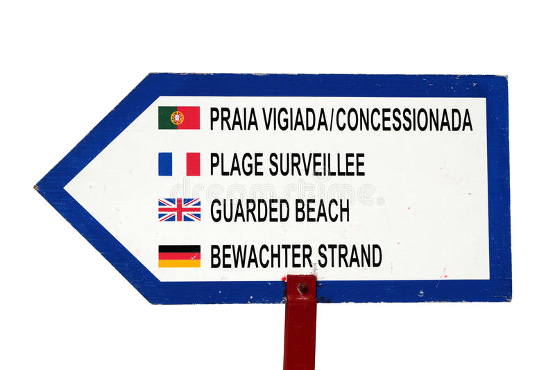 Sign of guarded beach. Notice of guarded beach in various languages isolated on white royalty free stock photos