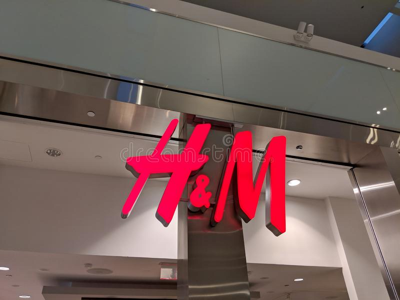 Sign of H&M Store Inside Westfield Culver City Mall. Fox Hills, Culver City, California - October 25, 2018: Sign of H&M Store Inside Westfield Culver City Mall royalty free stock photos