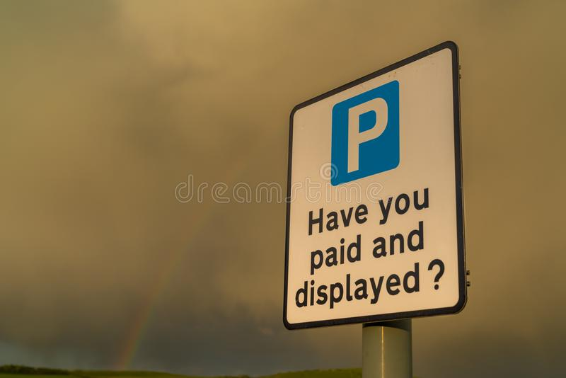 Sign: Have you paid and displayed stock photos