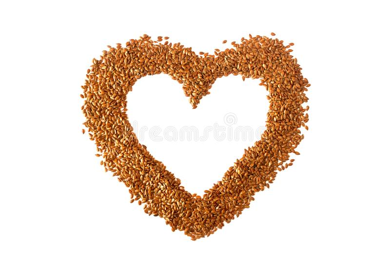 Sign heart lined with flax seeds. Concept- healthy diet, cancer royalty free stock images