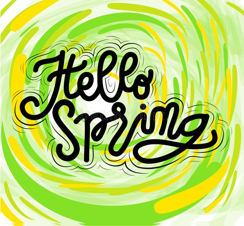 Sign Hello Spring, template, hand drawn type. Vector. royalty free illustration