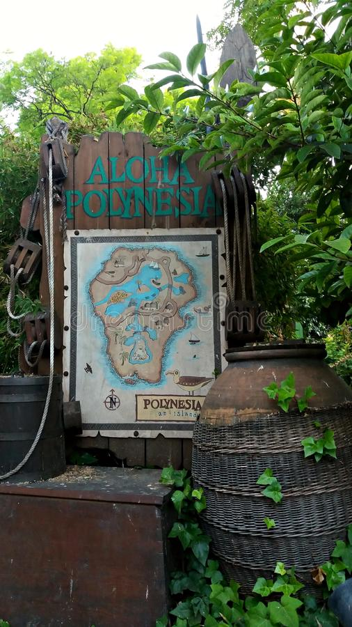 Welcome in Polynesia area in a theme park royalty free stock photo