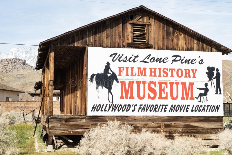 Sign for Hollywood Film History Museum painted on Western cabin Sierra Nevada Alabama Hills. Painted sign on side of wood western cabin for the local Hollywood stock photos