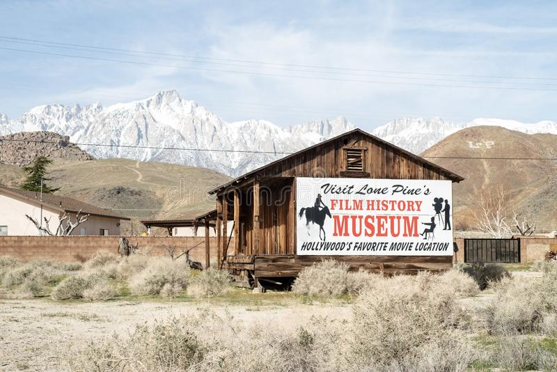 Sign for Hollywood Film History Museum painted on Western cabin Sierra Nevada Alabama Hills. Painted sign on side of wood western cabin for the Hollywood Film stock image