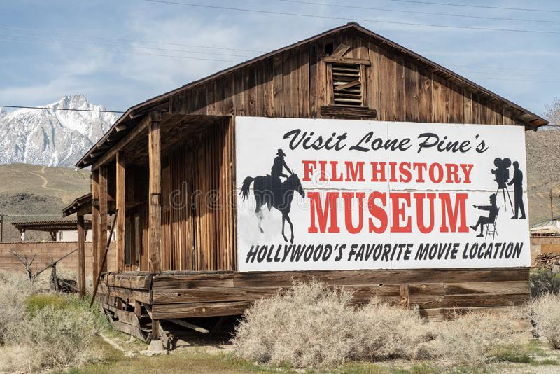 Sign for Hollywood Film History Museum painted on Western cabin Sierra Nevada Alabama Hills. Painted sign on side of wood western cabin for the Hollywood Film stock photography