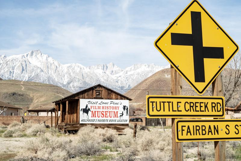 Sign for Hollywood Film History Museum painted on Western cabin Sierra Nevada Alabama Hills. Painted sign on side of wood western cabin for the Hollywood Film royalty free stock photography