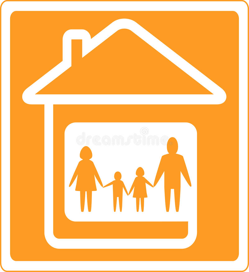 Download Sign With Home And Family Silhouette Stock Vector - Illustration: 25077294