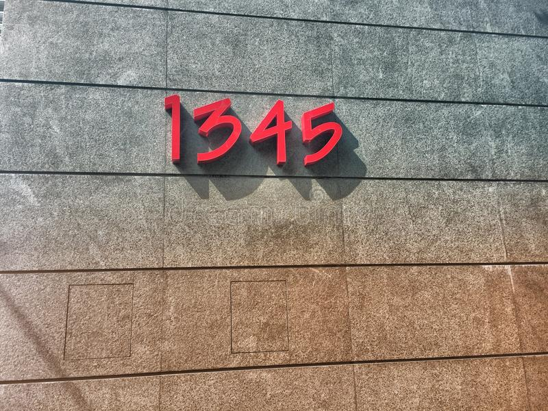 1345 sign stock photography