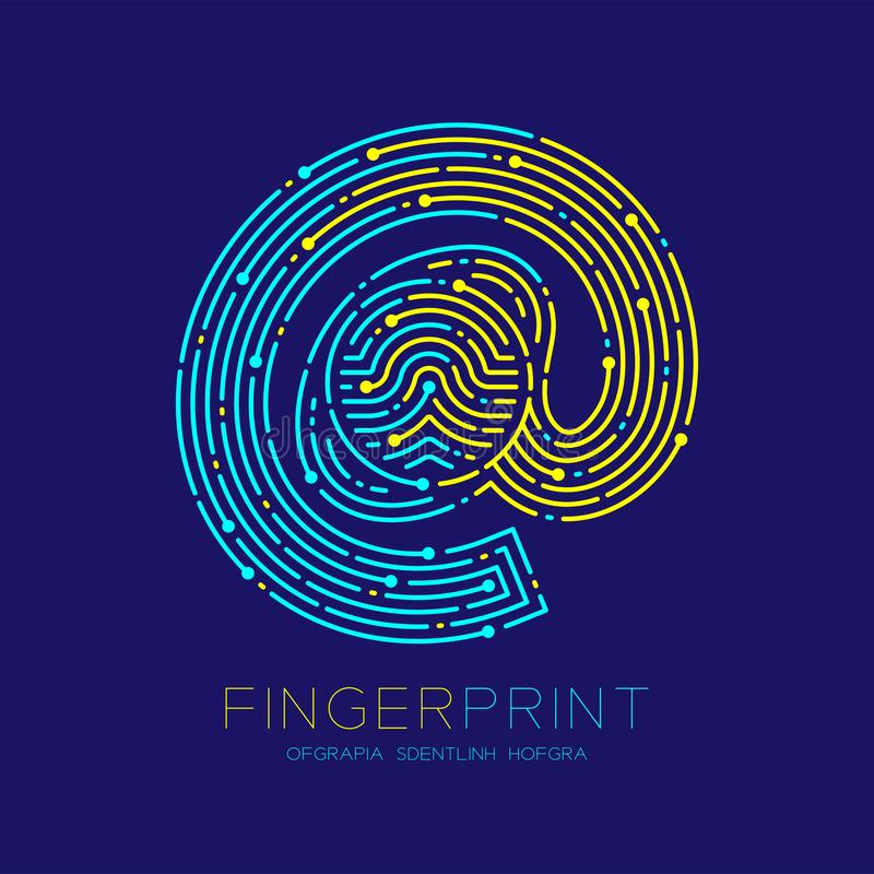 At sign icon Fingerprint scan pattern logo dash line, digital technology online concept, Editable stroke illustration yellow and. Blue isolated on dark blue vector illustration